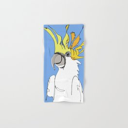 Yellow Crested Cockatoo in blue Hand & Bath Towel