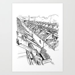 Alexandra Road -London housing estate Camden architectural drawing Art Print