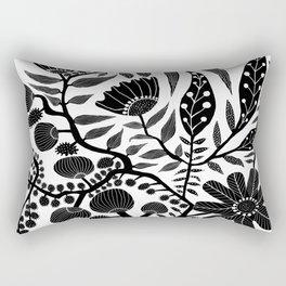 Big Floral B & W Rectangular Pillow