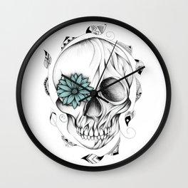 Poetic Wooden Skull Wall Clock