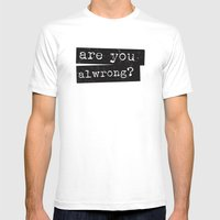 all wrong MEDIUM White Mens Fitted Tee