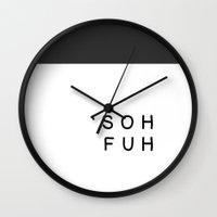 sofa Wall Clocks featuring 'sohfuh (Sofa) by LittleBlackCardigan