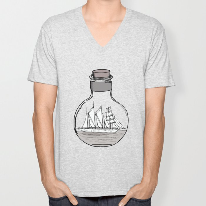 The Ship in the Bulb Unisex V-Neck