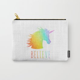 Believe  |  Rainbow Glitter Unicorn Carry-All Pouch