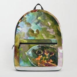 Oscar Fish, Aquarium Art, Cute fish artwork Backpack