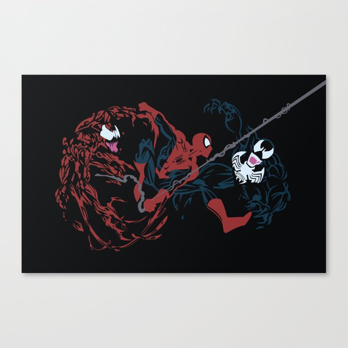 spider man carnage vs spidey vs venom canvas print by derfgnay