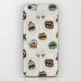 hygge raccoons iPhone Skin