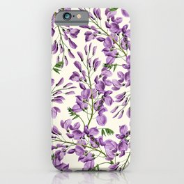 Boho forest green lavender lilac wisteria floral pattern iPhone Case