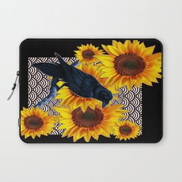 Modern Art Black Crows Sunflowers Pattern Design Laptop Sleeve