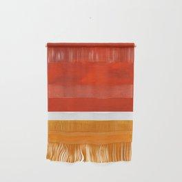 Burnt Orange Yellow Ochre Mid Century Modern Abstract Minimalist Rothko Color Field Squares Wall Hanging