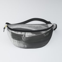 the boats sit quietly in the Venice Canals; black and white photography Fanny Pack