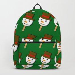 christmas snowman icecream on green Backpack