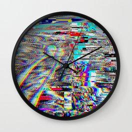 Glitch effect psychedelic illustration Wall Clock