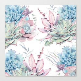 Pretty Pastel Succulents Garden 1 Canvas Print