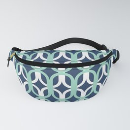 Retro Mid-Century Modern Geometric Oval Lattice Pattern Fanny Pack