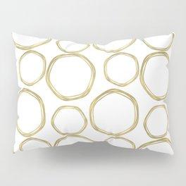 White & Gold Circles Pillow Sham