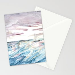 Sailboat at Sunset Watercolor Art, Ocean Waves, Anne Hockenberry Stationery Cards