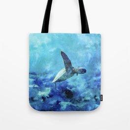 Sea Turtle Into The Deep Blue Tote Bag
