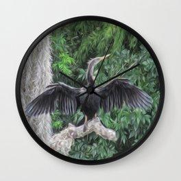 A Sunning Anhinga Wall Clock