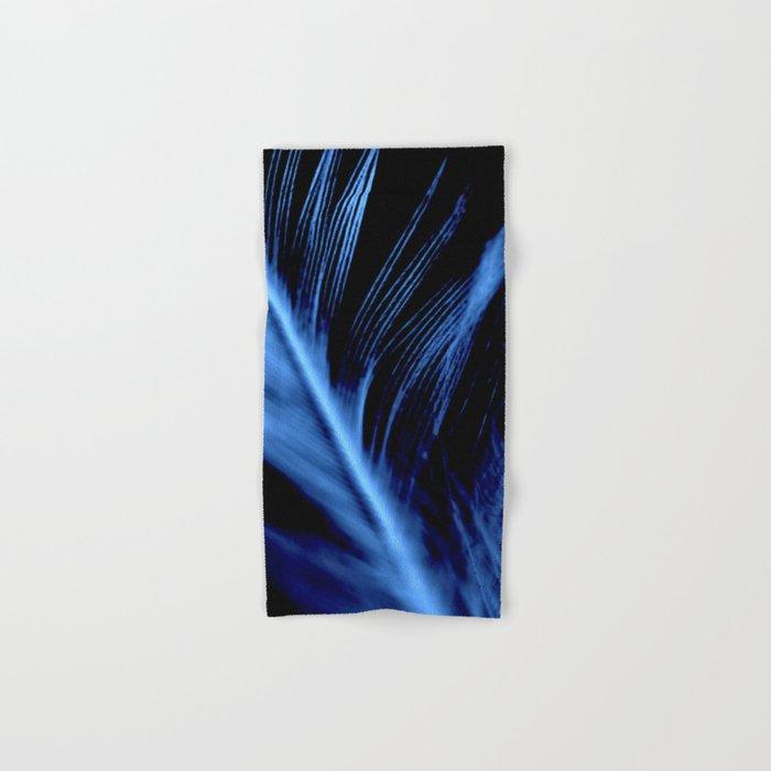 Blue Feather close up Hand & Bath Towel