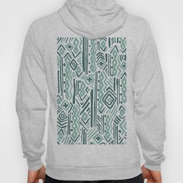 Abstract mauve green teal white tribal pattern Hoody