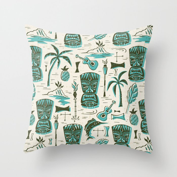 Tropical Tiki - Cream & Aqua Throw Pillow