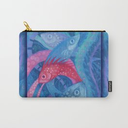 The Spawning, underwater art, pink & blue fish Carry-All Pouch