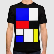 Red Blue Yellow squares design Black MEDIUM Mens Fitted Tee
