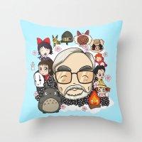 hayao miyazaki Throw Pillows featuring Ghibli, Hayao Miyazaki and friends by KickPunch