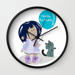 Happy Birthday Baloon Girl and a Cat Wall Clock