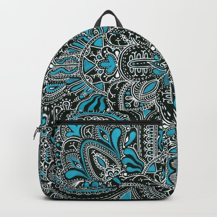 White turquoise symmetrical mandala line pattern Backpack
