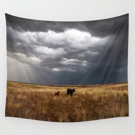 Life on the Plains - Cow Watches Over Playful Calf in Oklahoma Wall Tapestry