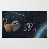space cat Area & Throw Rugs featuring Space cat by CookiesOChocola