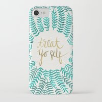 calligraphy iPhone & iPod Cases featuring Treat Yo Self – Gold & Turquoise by Cat Coquillette