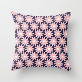 Crayon Flower Smudgy Floral Pattern in Pink, White, and Navy Blue Throw Pillow
