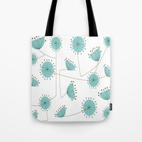 mid century Tote Bags featuring Mid-Century Dandelion Clocks by Kippygirl