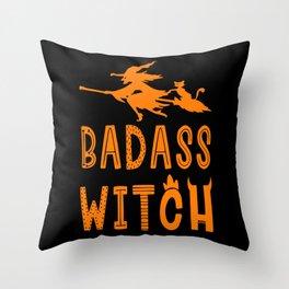 Badass Witch Hallowenn Cat Broom Throw Pillow