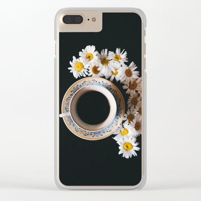 coffee and daisies Clear iPhone Case