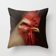 White Leghorn Rooster Throw Pillow