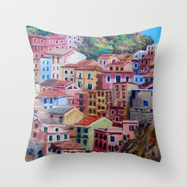 Colourful houses Throw Pillow