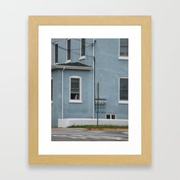 Cat in the window in the blue house on the corner Framed Art Print