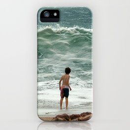 small boy against the sea iPhone Case