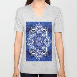 Mandala Blue Colorburst Unisex V-Neck