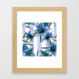 Blue lilies . Framed Art Print