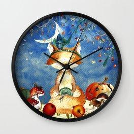 Autumn Woodland Friends Fox Forest Illustration Wall Clock