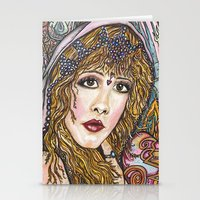 stevie nicks Stationery Cards featuring BLAME IT ON MY WILD HEART, STEVIE NICKS by Dream A Little Designs