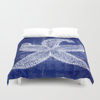 blueprint Duvet Covers featuring Vintage Starfish Blueprint by Fallen Apple Designs