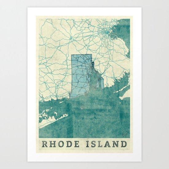 Rhode Island State Map Blue Vintage Art Print