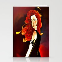 mortal instruments Stationery Cards featuring Clary Fray from The Mortal Instruments by Cassandra Clare by Amitra Art