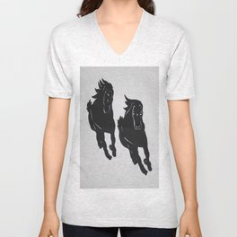 Wild Horses - Screenprint - Wild Veda Unisex V-Neck